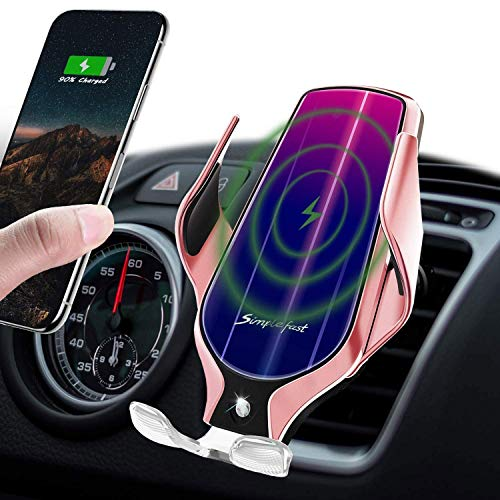 LUKKAHH R9 Wireless Car Charger Mount,Auto-Clamping Air Vent Phone Holder,10W Qi Fast Car Charging,Compatible iPhone 11/11 Pro/11 Pro Max/XS/XS Max/X/8/8+, Samsung Note9/Note10/S9+/S10+(Rose Gold)