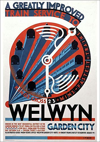 Media Storehouse A2 Poster of Welwyn Garden City, railway poster, c 1930s (10015601)