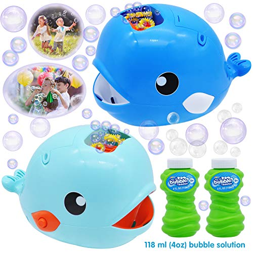 JOYIN 2 Bubble Machines Whale Bubble Maker Automatic Bubble Blower 2000+ Bubbles Per Minute for Kids, Summer Toy Party Favor, Birthday, Outdoor & Indoor, Easter with 2 Bubble Solutions