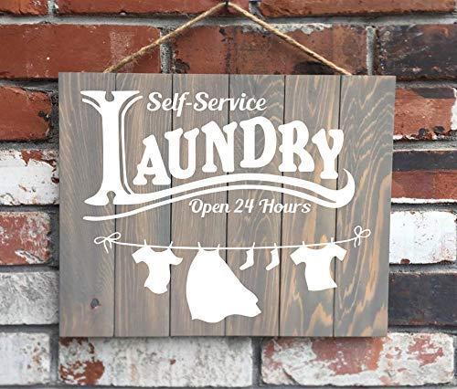 Señal de Madera para lavandería de autoservicio con Texto en inglés Laundry Open Hours