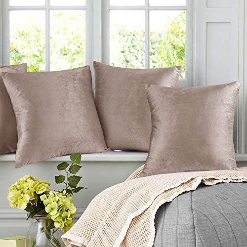 Nestl Bedding Throw Pillow Covers, Cozy Velvet Decorative Pillow Cases 24 x 24 Inches, Soft Solid Couch Pillow Covers for Sofa, Bed and Car, Set of 2 - Taupe Sand