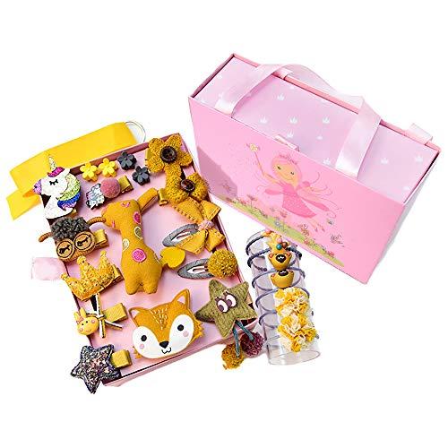 Haarspangen Set Mädchen, ZoneYan Mädchen Haarspange Baby Set, 24 Stück Haarklammer für Baby Mädchen, Mädchen Haarschmuck Set Gelb