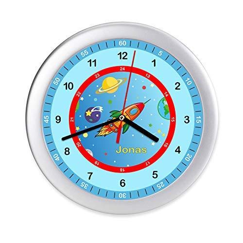 Kinder Wanduhr Rakete Weltall Kinderuhr mit Namen Uhr Kinderzimmer Lernuhr Geschenk