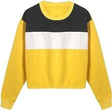AOJIAN Women Hoodie Long Sleeve Hooded Color Block Round Neck Casual Sweatshirt Pullover