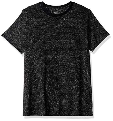 GUESS Men's Short Sleeve Imperial Metallic Crew Neck Shirt, Jet Black/Multi, L