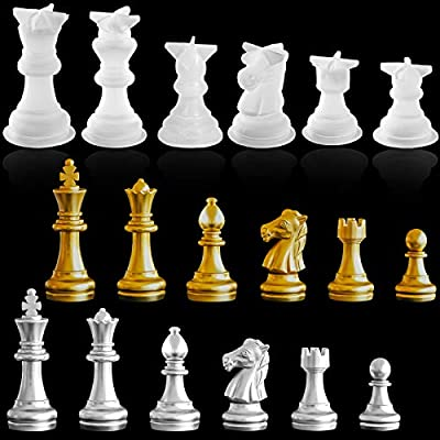 6 Pieces 3D Chess Resin Mold, International Chess Epoxy Mold Crystal Chess Piece Casting Molds for Resin Jewelry Making DIY Crafts Projects Supplies