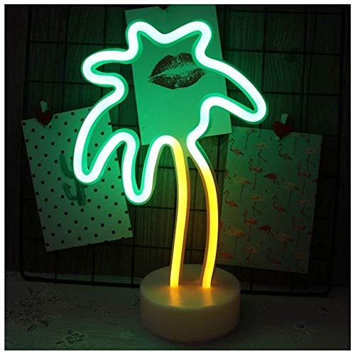 Palme Light Neon Signs - Neonlicht Lampen LED Nachtlicht Neonlichter-Dekor, Batterie- und USB-Betrieb mit Sockel,Schreibtischlampe, Neonzeichen fur Party, Weihnachten