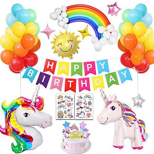 APERIL Einhorn Deko,Einhorn Luftballons Party Dekorationen Supplies, Geburtstagsdeko Happy Birthday Dekoration für Kids Mädchen Freundin Frauen