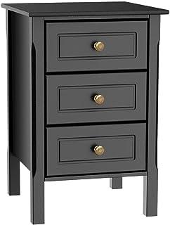 Yaheetech Table de Chevet Bois Laqué Noir avec 3 Tiroirs Bout de Canapé 40 x 40 x 60 cm Table de Nuit pour Salon Chambre à...