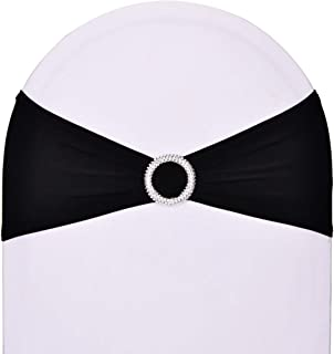 SweetEver Pack of 50 Stretch Spandex Chair Sashes for Wedding Party Banquet Decoration Elastic Bulk Chair Cover with Buckle Engagement Event Birthday Graduation Meeting Black