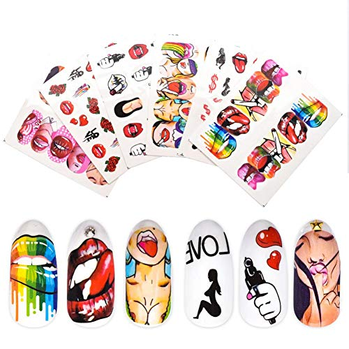 LLMTF 1pcs Nail Stickers Sexy Lips Cool Girl Water Decals Wraps Cartoon Sliders for Nail Art Decorations Manicure Colorful TipNagelaufkleber