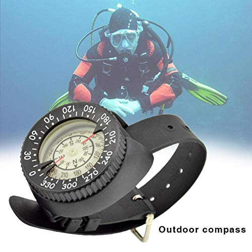 Tauchkompass, High Precision Professional Wrist wasserdichter Kompass 50 M / 164 Fuß Outdoor Compass Fluorescent Dial