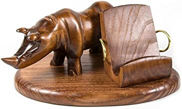 Wood decor style carved iPhone 5 4S 4 3GS *Rhino* table stand for mobile phone