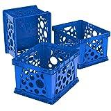 Storex Mini Crate, 9 x 7.75 x 6 Inches, School Blue, 3 Pack...