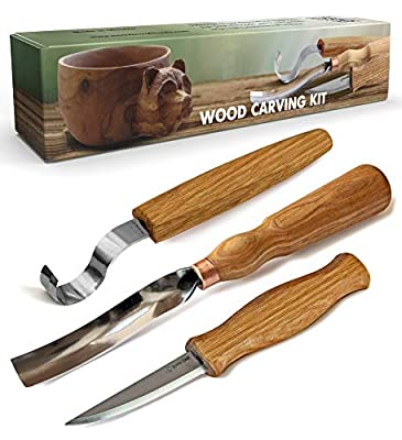 BeaverCraft S14 Wood Carving Tools Kit Wood Carving Set Wood Carving Hook Knife Set Spoon Carving Tools Spoon Knife Set Bowl Kuksa Scoop Cup Carving Tools Wood Gouges (Spoon Carving Kit)