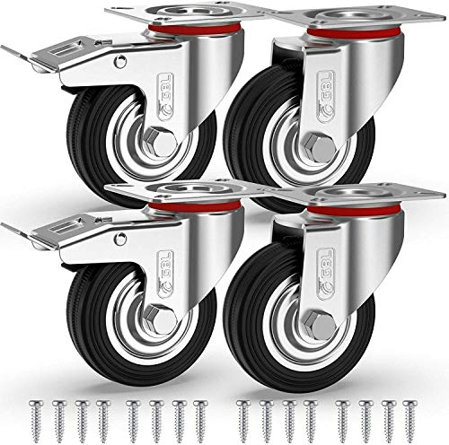 GBL - 4 Ruedas para Muebles + Tornillos 200KG | 75mm Ruedas Giratorias, Rueda Pivotantes, Ruedas Con Freno Industrial Con Placa de Montaje