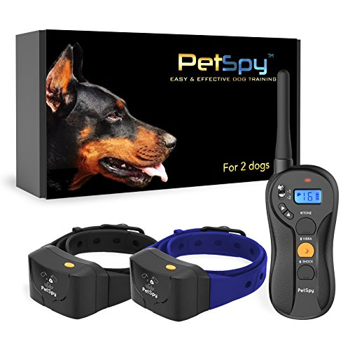 PetSpy P620B Dog Training Shock Collar for 2 Dogs with Vibration, Electric Shock, Beep; Fully Waterproof Remote Trainer with Two E-Collars, 10-140 lbs...