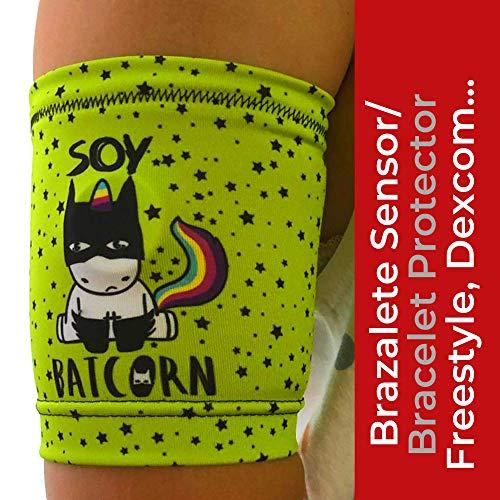 IKOOKI Brazalete Protector Sensor de Glucosa Compatible con Abbott Freestyle Libre - Dexcom G4 G5 G6 - Guardian Sensor - Omnipod - Flexible Comodo y Reutilizable - Color Batcornio – Talla 18