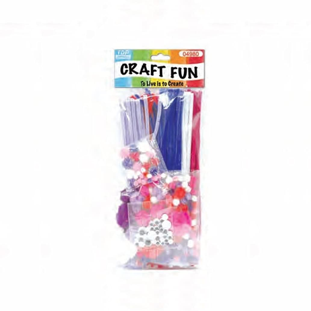 Craft Kit for Kids With Chenille Pipe Cleaners, Pom Poms, Feathers, and More.