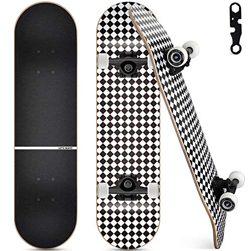 Upgraded Skateboards for Beginners, 31'x8' Complete Skateboard for Kids Teens & Adults, 7 Layer...