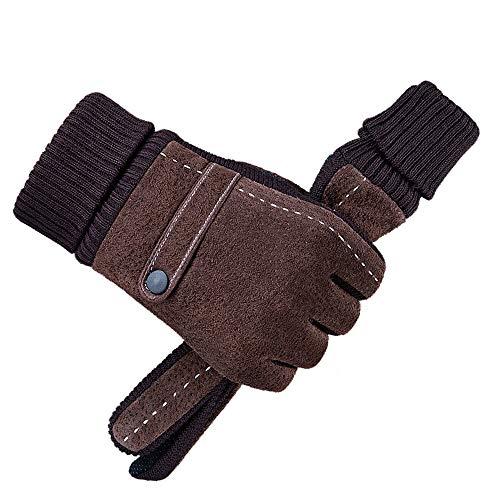 Knuffelige handschoenen van leer, winter, voor heren, warm, dik, van fleece, winddicht, koud, proof thermo-handschoenen, voor fiets, motorfiets, camping, enz.