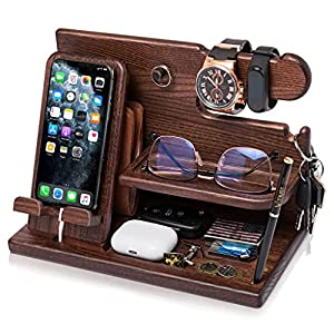 """MULTIFUNCTIONAL CHARGING STATION & ORGANIZER. Charge your cell phone and keep your daily-used things at hand. Size assembled 5.9x10.4x7.4"""". Please note! Accessories shown in the pictures are not included! NATURAL MATERIALS & GREAT ARTISAN WORK. This ..."""