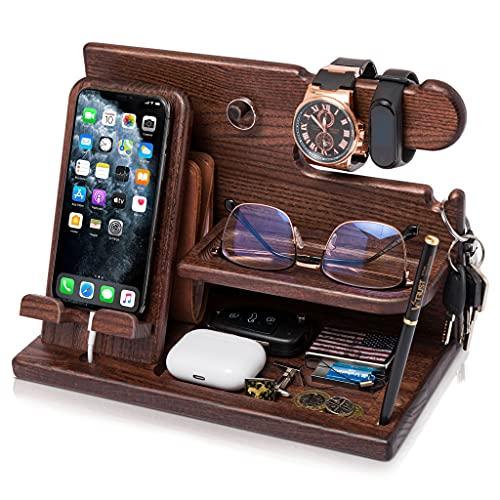 Docking Station in legno per smartphone Portachiavi Supporto portafoglio Supporto orologio Regalo da uomo Marito Anniversario Regalo per papà Supporto da comodino Legno massello in frassino (Marrone)