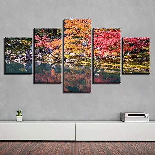 QQWER HD Impreso Modern Lienzo Pintura Arte Pared 5 Pinturas Salón Hogar Decoraciónpaisaje Natural del Lago del Árbol Modular Poster Sin Marco Pictures Decor