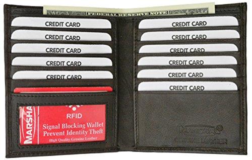 RFID Blocking Bifold Hipster Credit Card Wallet Premium Lambskin Leather (Brown)