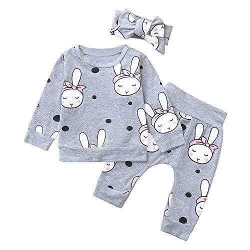 BURFLY 3 STÜCKE Baumwolle Kleidung Set Baby Langarm Cartoon Bunny Drucken Tops + Pants + Hair Strap Outfits Sets