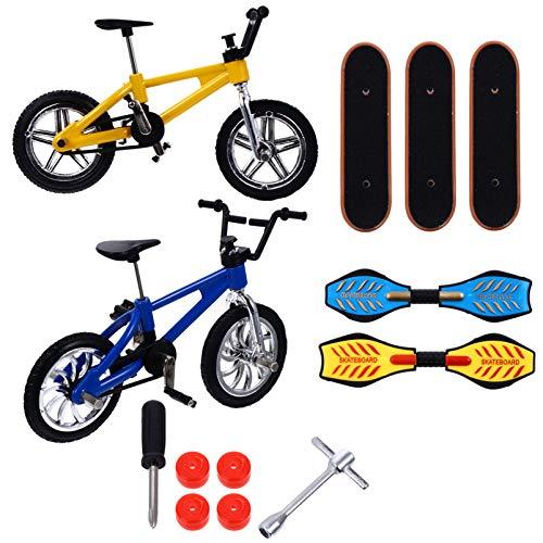 TOYMYTOY 13 Piezas Mini Finger Skateboard Fingerboard Bicicletas Juguetes Set Finger Bicycle Swing Board Juguetes Fiesta Favorece El Movimiento Creativo de La Yema del Dedo para Niños