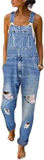 KLJR Women Loose Casual Adjustable-Strap Bib Ripped Distressed Jeans Denim Overalls
