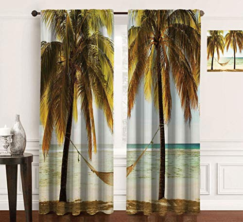 Holiday Decorations Print Casual Kitchen Curtains, Seascape Hammock Palm Trees on Shore Tropical Beach Sunset Eclipse Blackout Curtains for Bedroom, 2Pcs Each 60' Wx84 L