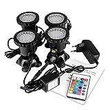 ALLOMN Foco de 36 LED, sumergible, IP68, resistente al agua, para acuario, estanque, con enchufe europeo (juego de 4 luces)