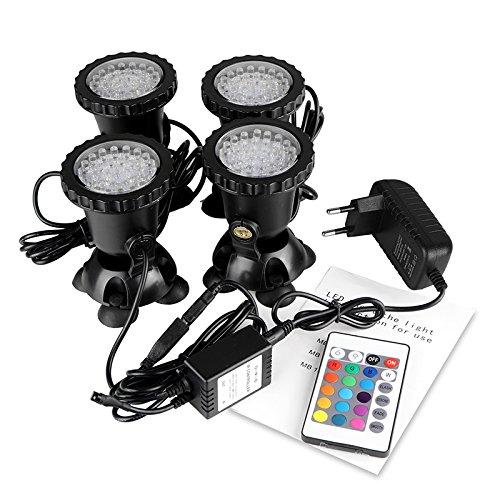 Viitech Télécommande RGB LED, 4PCS Pond Light Underwater RGB Spot Lights, Multi-couleur Aquarium Light Fish Tank Light avec télécommande EU Plug