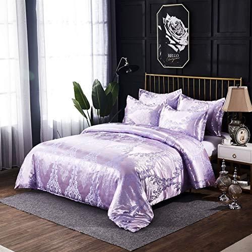 QXbecky European Style Luxury Satin Jacquard Bedding Quilt Cover Pillowcase 3 Set 260