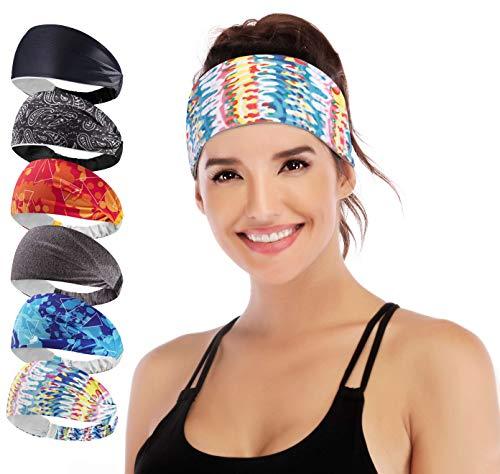 IUGA Yoga Headband for Women, Non-Slip Sweabands for Workout, Running, Yoga Sport, 6 Styles Women