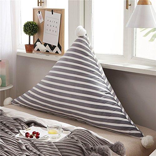 MMM- Chevet Souple Triangulaire Grand Dossier Lit Canapé Oreiller Lavable Double Tapis de Coussin (Couleur : Gris, taille : 180*75cm)