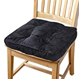 Big Hippo Chair Pads Square Cotton Chair Cushion with Ties Soft Thicken Seat Pads Cushion Pillow for Office,Home or Car Sitting 17' x 17'(Black)