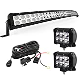 YITAMOTOR LED Light Bar 288W Curved 50 inches Light Bar Combo & 2pc 18W Spot Light Pods & Wiring Harness Compatible for Jeep, Pickup, Truck, ATV, Boat, SUV, IP68 Waterproof LED Light