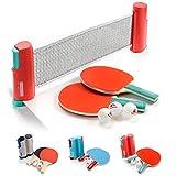 Set Ping Pong 1 Red 2 Raquetas 2 Pelotas Neto para Tenis de Mesa Longitud Ajustable hasta 170 cm Portátil Accesorio para Entrenamiento y Actividades al Aire Libre y Deportes (Sunset, Azul)