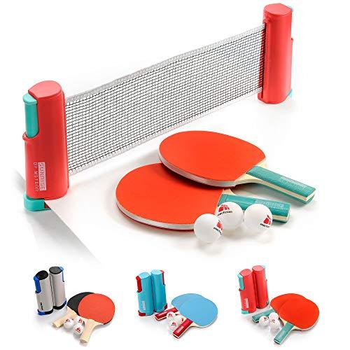 meteor Tischtennisnetze Set ausziehbar Tischtennis Netze Schwarz - Einziehbares Netz - einstellbare Länge mobiles tischtennisnetz für jeden Tisch