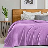 SEDONA HOUSE Flannel Plush Purple Fleece Bed Throw Blanket Queen Size 90'x90' - 280GSM Luxury Microfiber Super Soft Warm Fuzzy Cozy Lightweight Blanket for Bed Couch or Car
