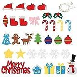 qiaohuan shop Árbol de Navidad de fieltro para niños y adornos salvados con cadena de luz LED