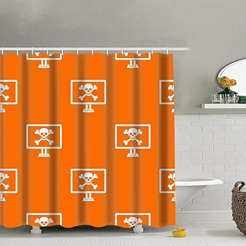 Meiya-Design - Cortina de ducha con ganchos, 183 x 183 cm, diseño de huesos de calavera con símbolos de repetición de símbolos de alerta con ganchos
