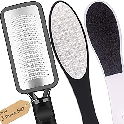 Foot Files Stainless Steel Pedicure and Dual Sided Foot File Hard Skin Remover Professional Foot Care Tool for Hard Skin and Dry Cracked Feet Scraper - 3pcs/Set from xzwd
