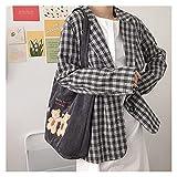 bolsa de lona Bolsa de hombro de las mujeres de la bolsa de hombro Bordado de la lona de la lona de la lona del bordado de la tela de los bolsos de compra lindos para las damas (Color : Dark Grey)