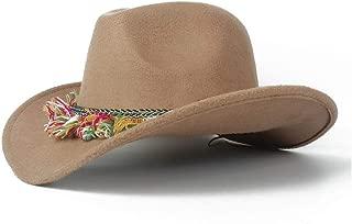 WUNONG-AU 2019 Men's and Women's Authentic Western Cowboy hat, Fashion hat Leather Belt Cap, Jazz hat, roll-up hat, Wide hat, Jazz hat (Color : Khaki, Size : 56-58)