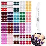 WOKOTO 20 Pcs Solid Fingernail Nail Polish Wraps Stirips with 1 Nail File Kit Mix Color+Glitter Solid Color +Solid Color 14 Tips Per Sheet Gel Nail Sticker Strips Kit for Women
