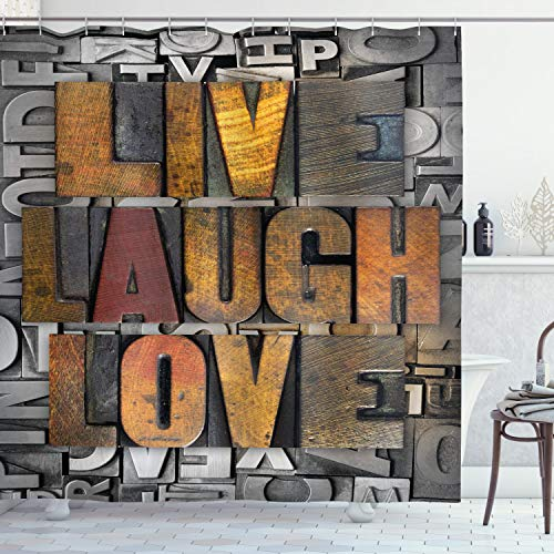 """Ambesonne Live Laugh Love Shower Curtain, Saying Promoting The Values of Human Life in Colorful a Pattern, Cloth Fabric Bathroom Decor Set with Hooks, 70"""" Long, Brown Silver"""